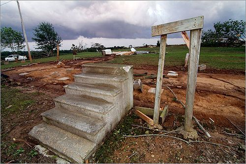 The concrete stairs are all that remain of this Tuscaloosa, Alabama home following the devastating