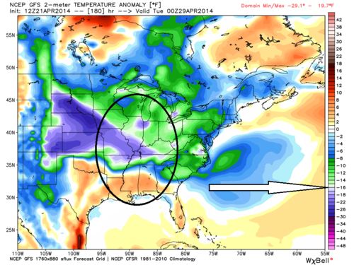 Gfs temperature anomoly 1