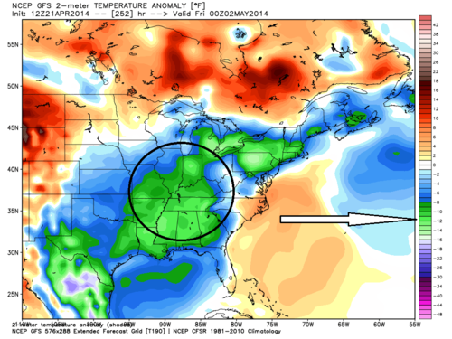 Gfs temperature anomoly 4