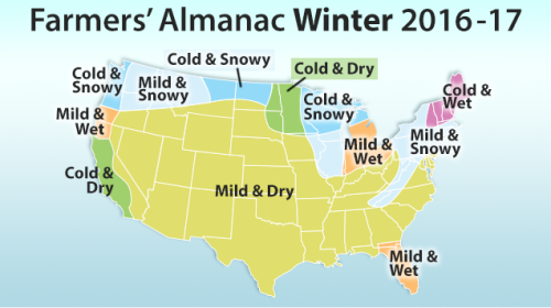 More on an early winter 2016 weather prediction old for Farmer s almanac 2017 winter forecast